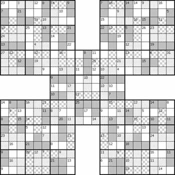Killer Samurai Sudoku Puzzle 10 Black and White
